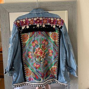 ASOS distressed, printed denim jacket